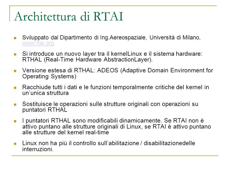 Architettura di RTAI Sviluppato dal Dipartimento di Ing.Aereospaziale, Università di Milano, www.rtai.org www.rtai.org Si introduce un nuovo layer tra