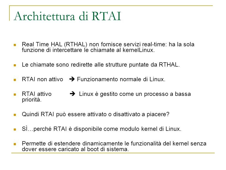 Architettura di RTAI Real Time HAL (RTHAL) non fornisce servizi real-time: ha la sola funzione di intercettare le chiamate al kernelLinux. Le chiamate
