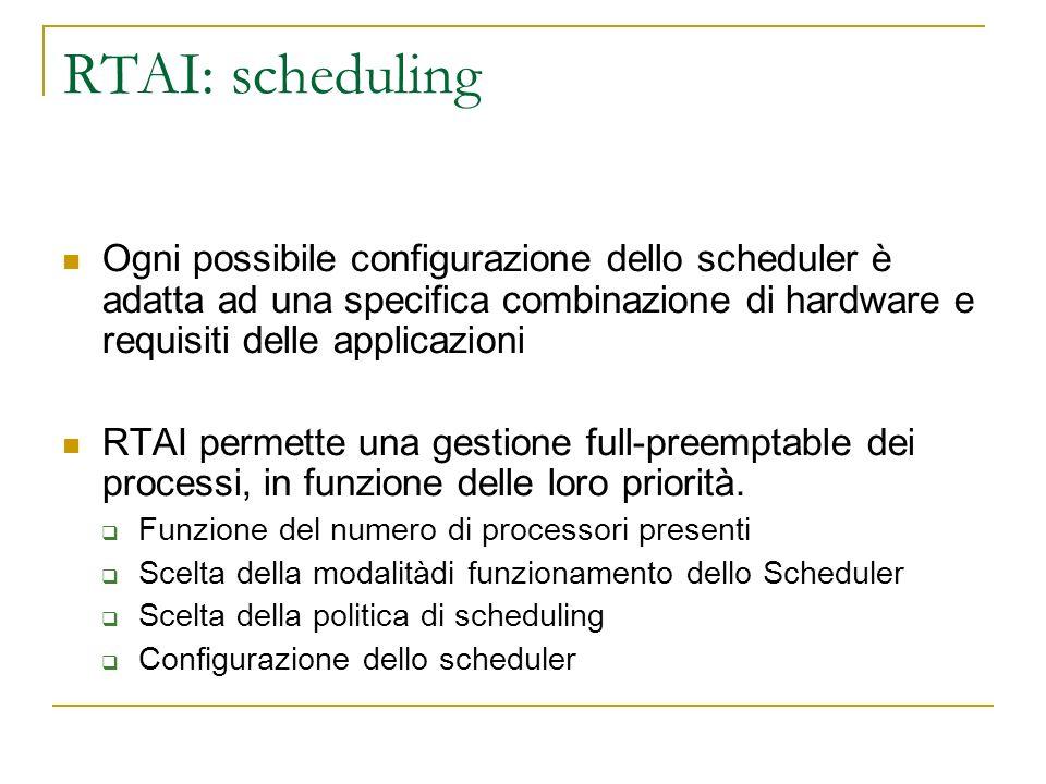 RTAI: scheduling Ogni possibile configurazione dello scheduler è adatta ad una specifica combinazione di hardware e requisiti delle applicazioni RTAI