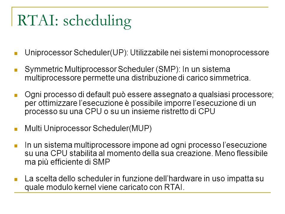 RTAI: scheduling Uniprocessor Scheduler(UP): Utilizzabile nei sistemi monoprocessore Symmetric Multiprocessor Scheduler (SMP): In un sistema multiproc