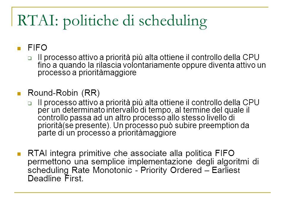 RTAI: politiche di scheduling FIFO Il processo attivo a priorità più alta ottiene il controllo della CPU fino a quando la rilascia volontariamente opp