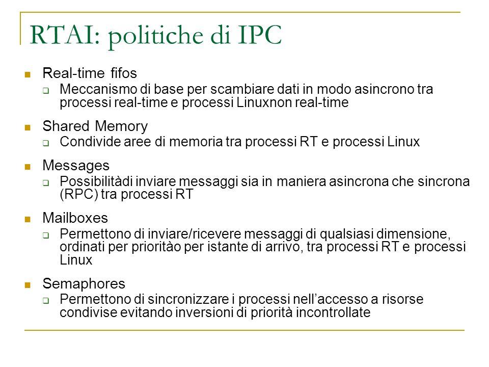 RTAI: politiche di IPC Real-time fifos Meccanismo di base per scambiare dati in modo asincrono tra processi real-time e processi Linuxnon real-time Sh