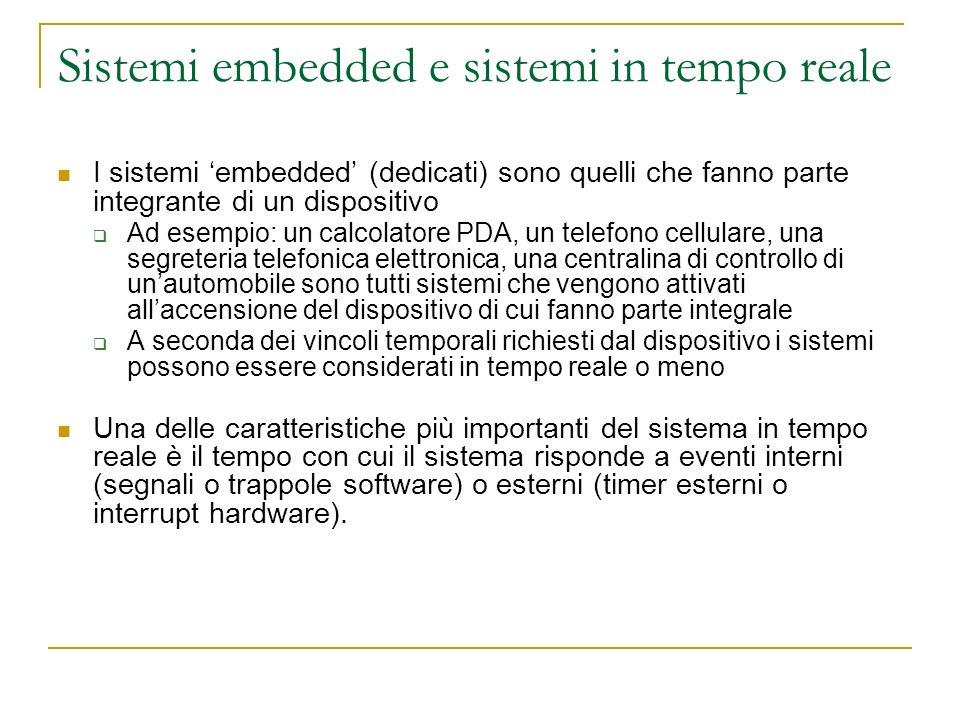 Sistemi embedded e sistemi in tempo reale I sistemi embedded (dedicati) sono quelli che fanno parte integrante di un dispositivo Ad esempio: un calcol