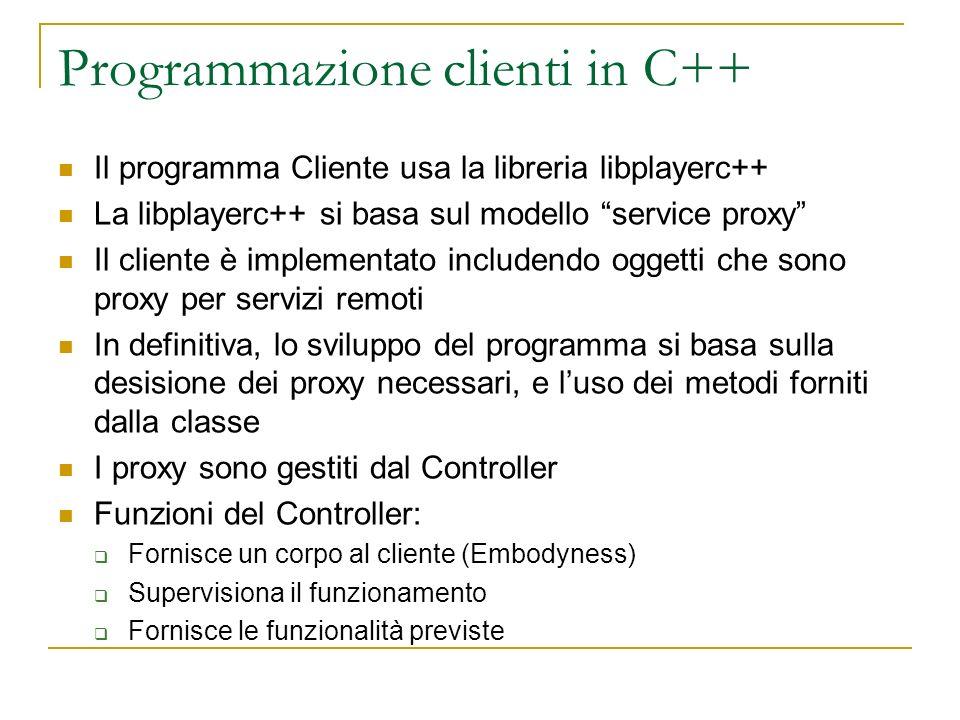 Programmazione clienti in C++ Il programma Cliente usa la libreria libplayerc++ La libplayerc++ si basa sul modello service proxy Il cliente è impleme
