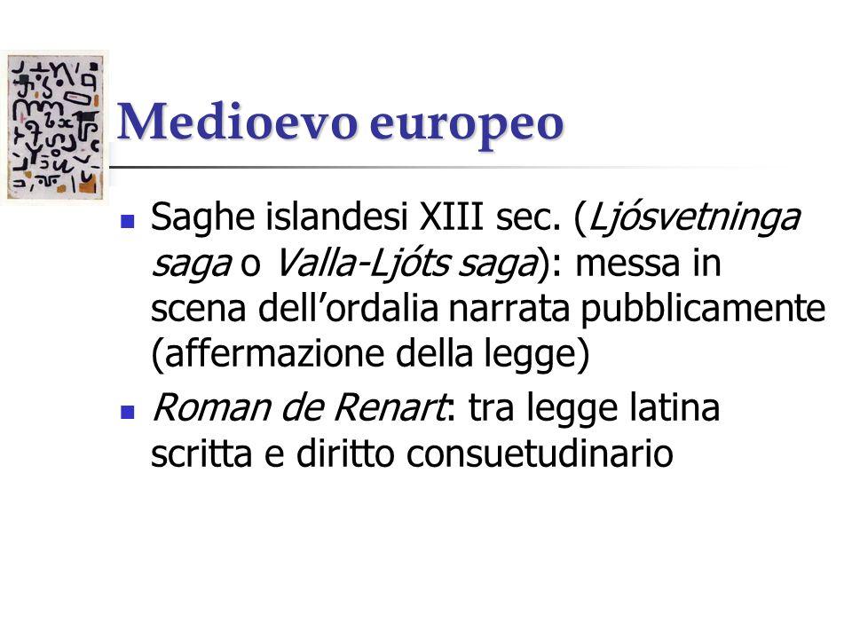 Medioevo europeo Saghe islandesi XIII sec. (Ljósvetninga saga o Valla-Ljóts saga): messa in scena dellordalia narrata pubblicamente (affermazione dell