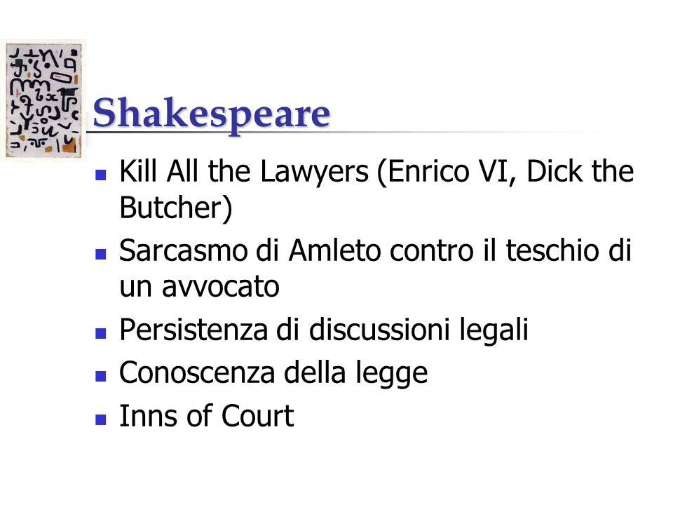 Shakespeare Kill All the Lawyers (Enrico VI, Dick the Butcher) Sarcasmo di Amleto contro il teschio di un avvocato Persistenza di discussioni legali C