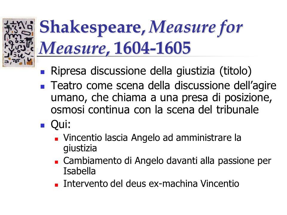 Shakespeare, Measure for Measure, 1604-1605 Ripresa discussione della giustizia (titolo) Teatro come scena della discussione dellagire umano, che chia