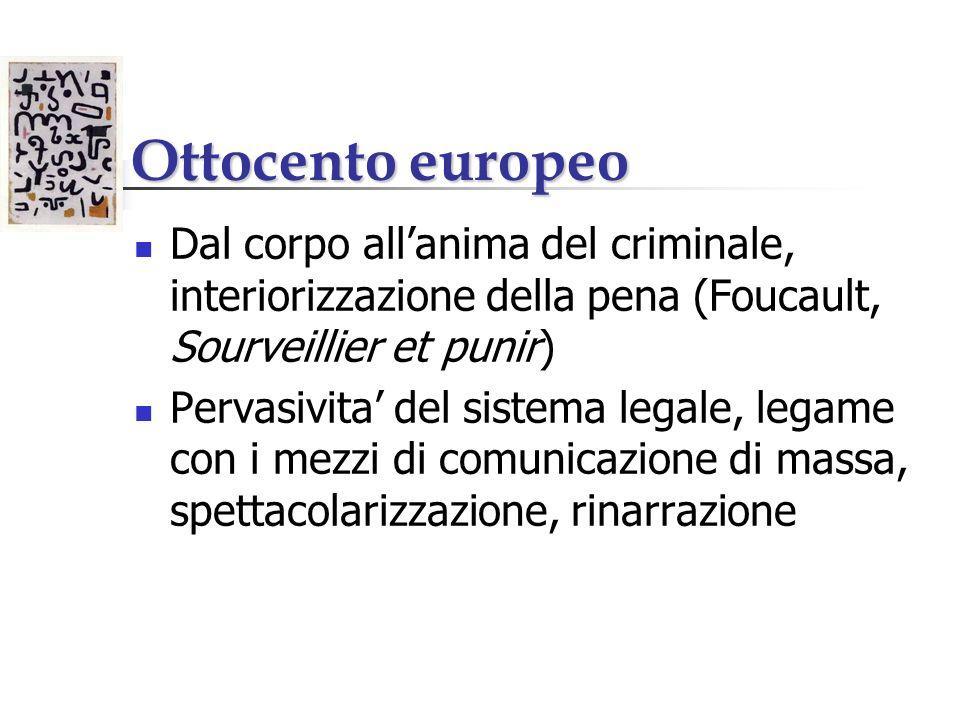 Ottocento europeo Dal corpo allanima del criminale, interiorizzazione della pena (Foucault, Sourveillier et punir) Pervasivita del sistema legale, leg