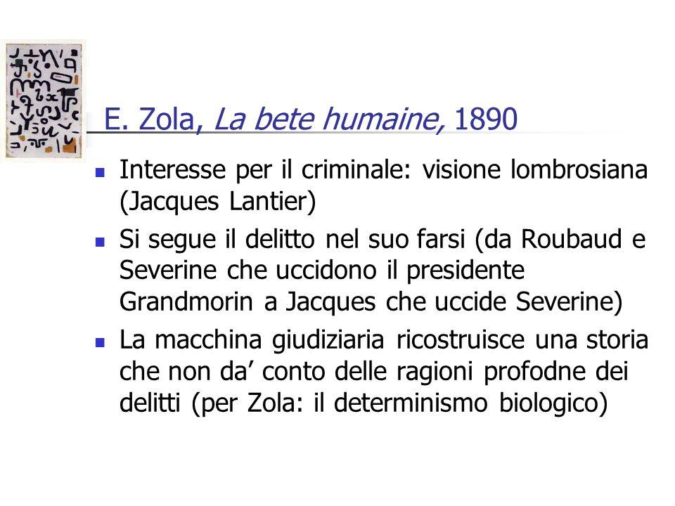E. Zola, La bete humaine, 1890 Interesse per il criminale: visione lombrosiana (Jacques Lantier) Si segue il delitto nel suo farsi (da Roubaud e Sever