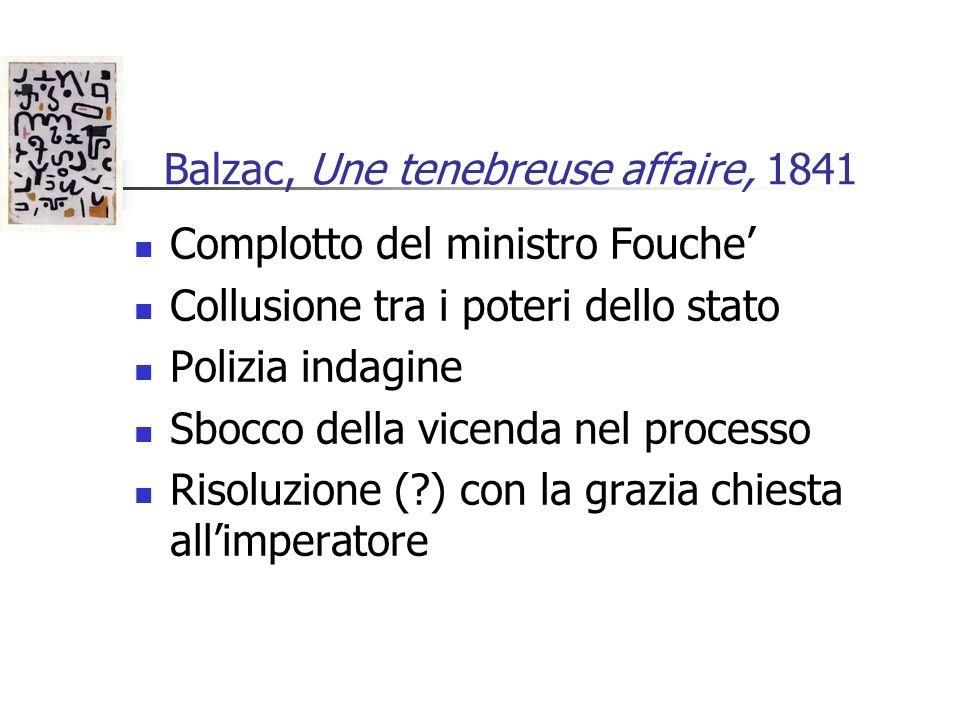 Balzac, Une tenebreuse affaire, 1841 Complotto del ministro Fouche Collusione tra i poteri dello stato Polizia indagine Sbocco della vicenda nel proce