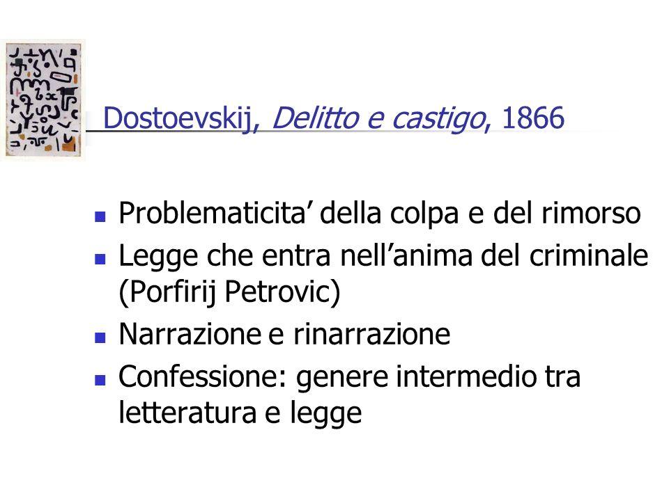 Dostoevskij, Delitto e castigo, 1866 Problematicita della colpa e del rimorso Legge che entra nellanima del criminale (Porfirij Petrovic) Narrazione e