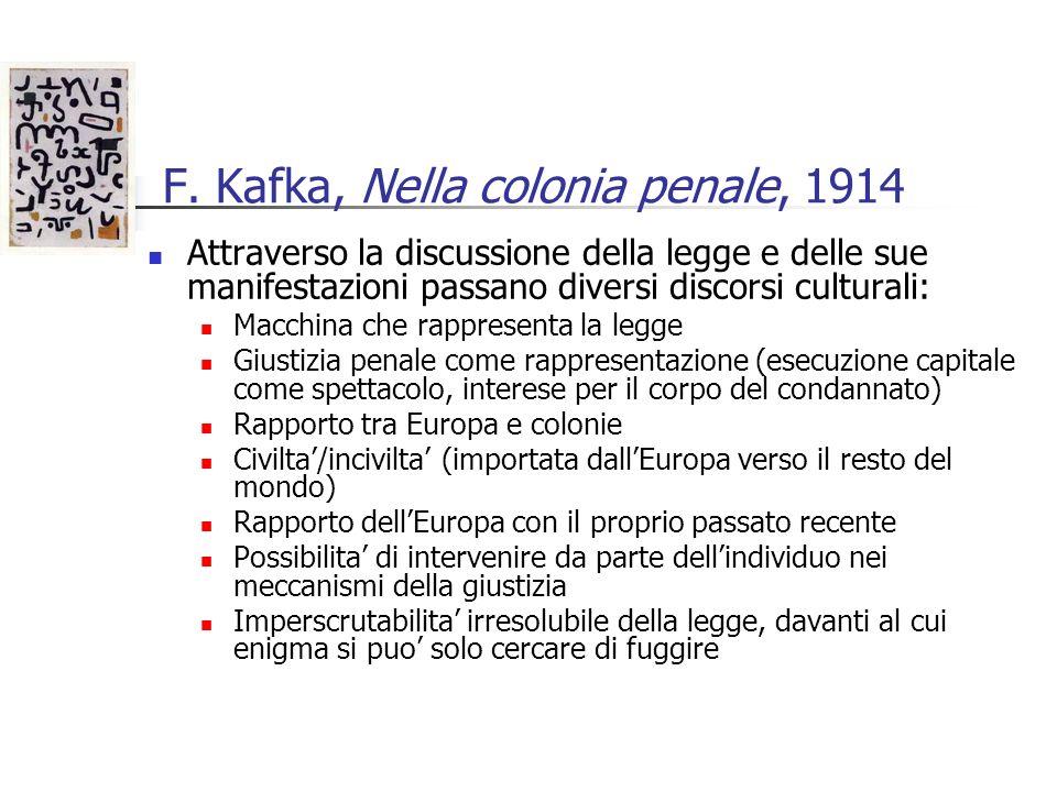 F. Kafka, Nella colonia penale, 1914 Attraverso la discussione della legge e delle sue manifestazioni passano diversi discorsi culturali: Macchina che