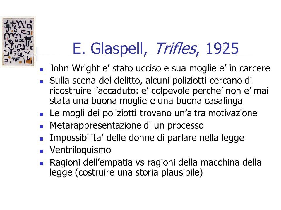 E. Glaspell, Trifles, 1925 John Wright e stato ucciso e sua moglie e in carcere Sulla scena del delitto, alcuni poliziotti cercano di ricostruire lacc