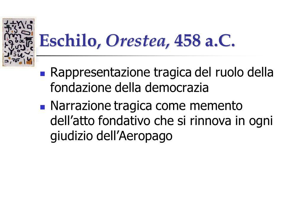 Eschilo, Orestea, 458 a.C. Rappresentazione tragica del ruolo della fondazione della democrazia Narrazione tragica come memento dellatto fondativo che