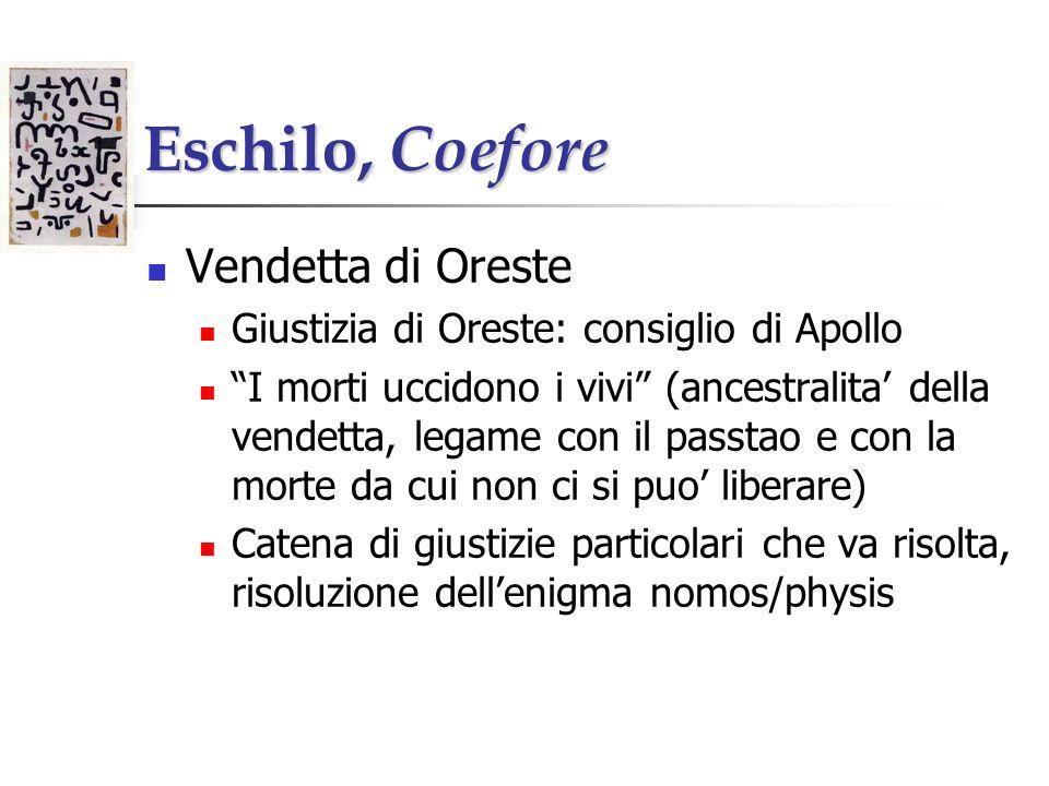 Eschilo, Coefore Vendetta di Oreste Giustizia di Oreste: consiglio di Apollo I morti uccidono i vivi (ancestralita della vendetta, legame con il passt