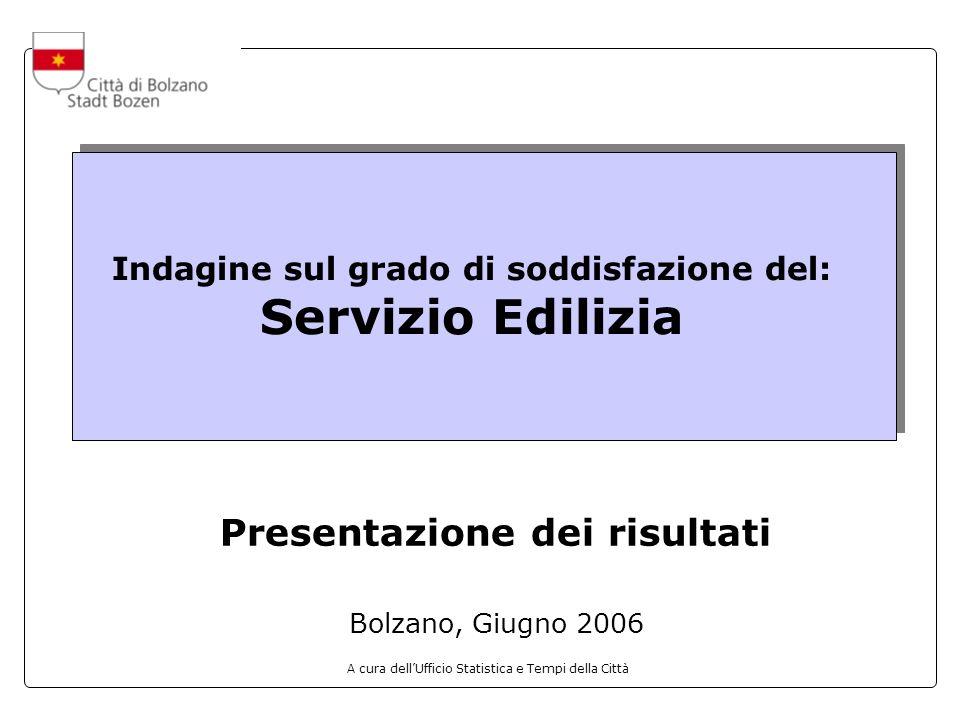 A cura dellUfficio Statistica e Tempi della Città Indagine sul grado di soddisfazione del: Servizio Edilizia Presentazione dei risultati Bolzano, Giugno 2006