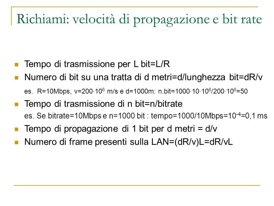 Richiami: velocità di propagazione e bit rate Tempo di trasmissione per L bit=L/R Numero di bit su una tratta di d metri=d/lunghezza bit=dR/v es. R=10