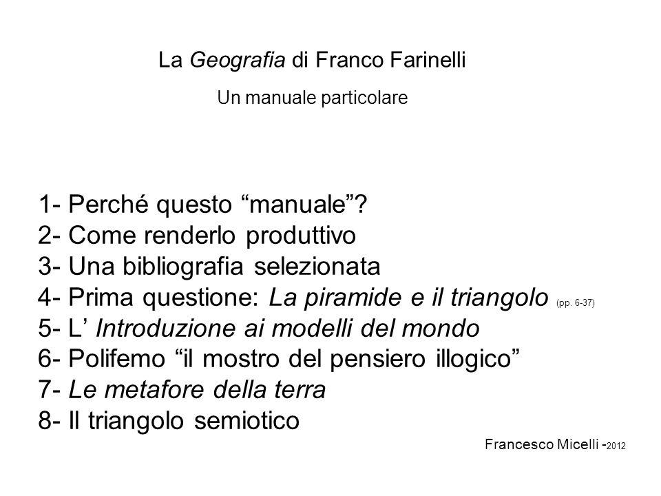 La Geografia di Franco Farinelli Un manuale particolare 1- Perché questo manuale? 2- Come renderlo produttivo 3- Una bibliografia selezionata 4- Prima