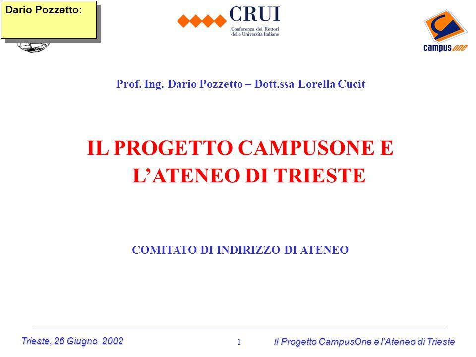 Trieste, 26 Giugno 2002 Il Progetto CampusOne e lAteneo di Trieste 1 Prof. Ing. Dario Pozzetto – Dott.ssa Lorella Cucit IL PROGETTO CAMPUSONE E LATENE