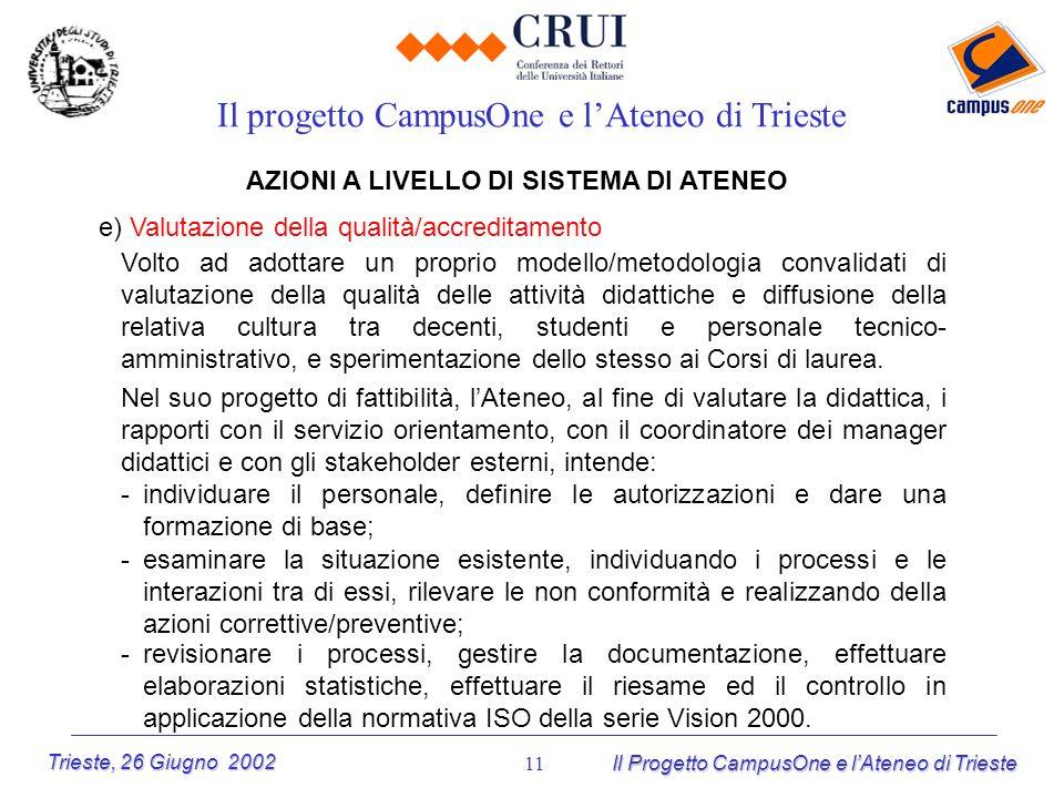 Trieste, 26 Giugno 2002 Il Progetto CampusOne e lAteneo di Trieste 11 AZIONI A LIVELLO DI SISTEMA DI ATENEO e) Valutazione della qualità/accreditament
