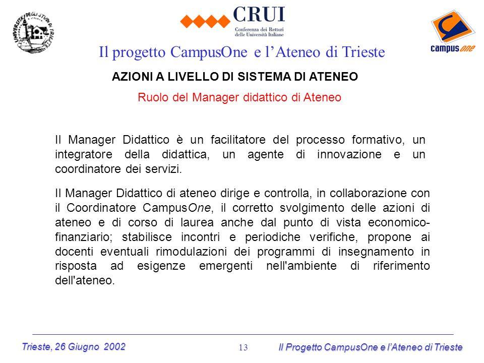 Trieste, 26 Giugno 2002 Il Progetto CampusOne e lAteneo di Trieste 13 AZIONI A LIVELLO DI SISTEMA DI ATENEO Ruolo del Manager didattico di Ateneo Il p