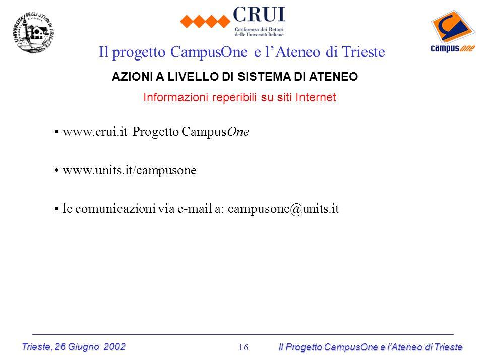 Trieste, 26 Giugno 2002 Il Progetto CampusOne e lAteneo di Trieste 16 AZIONI A LIVELLO DI SISTEMA DI ATENEO Informazioni reperibili su siti Internet I