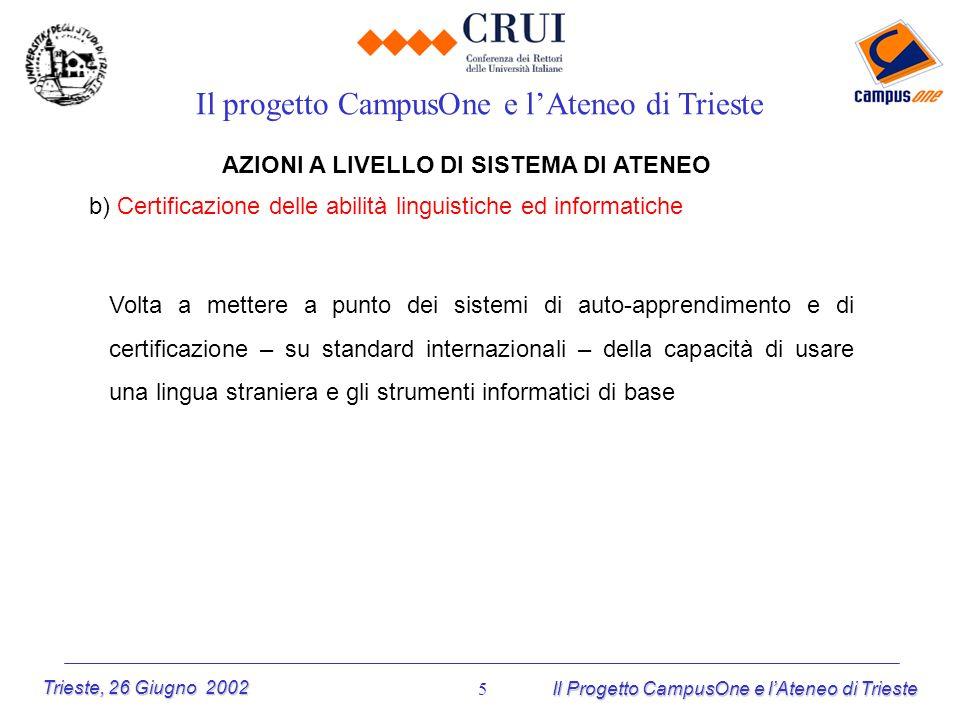 Trieste, 26 Giugno 2002 Il Progetto CampusOne e lAteneo di Trieste 5 AZIONI A LIVELLO DI SISTEMA DI ATENEO b) Certificazione delle abilità linguistich