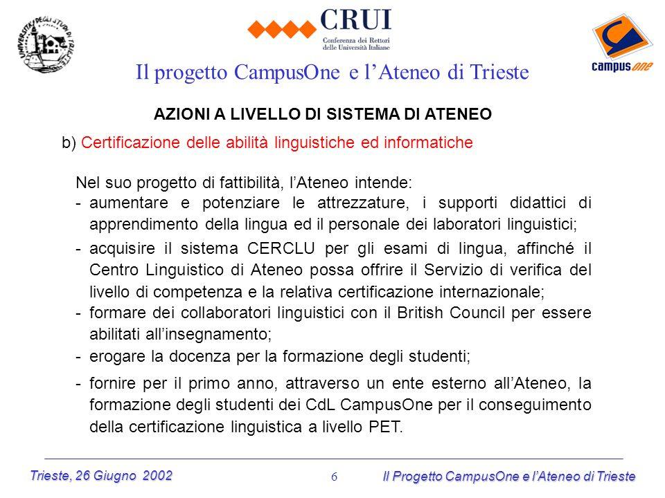Trieste, 26 Giugno 2002 Il Progetto CampusOne e lAteneo di Trieste 6 AZIONI A LIVELLO DI SISTEMA DI ATENEO b) Certificazione delle abilità linguistich