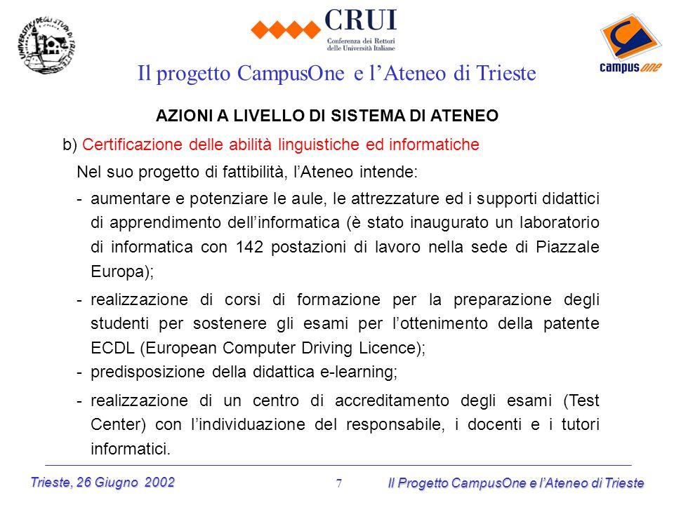 Trieste, 26 Giugno 2002 Il Progetto CampusOne e lAteneo di Trieste 7 AZIONI A LIVELLO DI SISTEMA DI ATENEO b) Certificazione delle abilità linguistich
