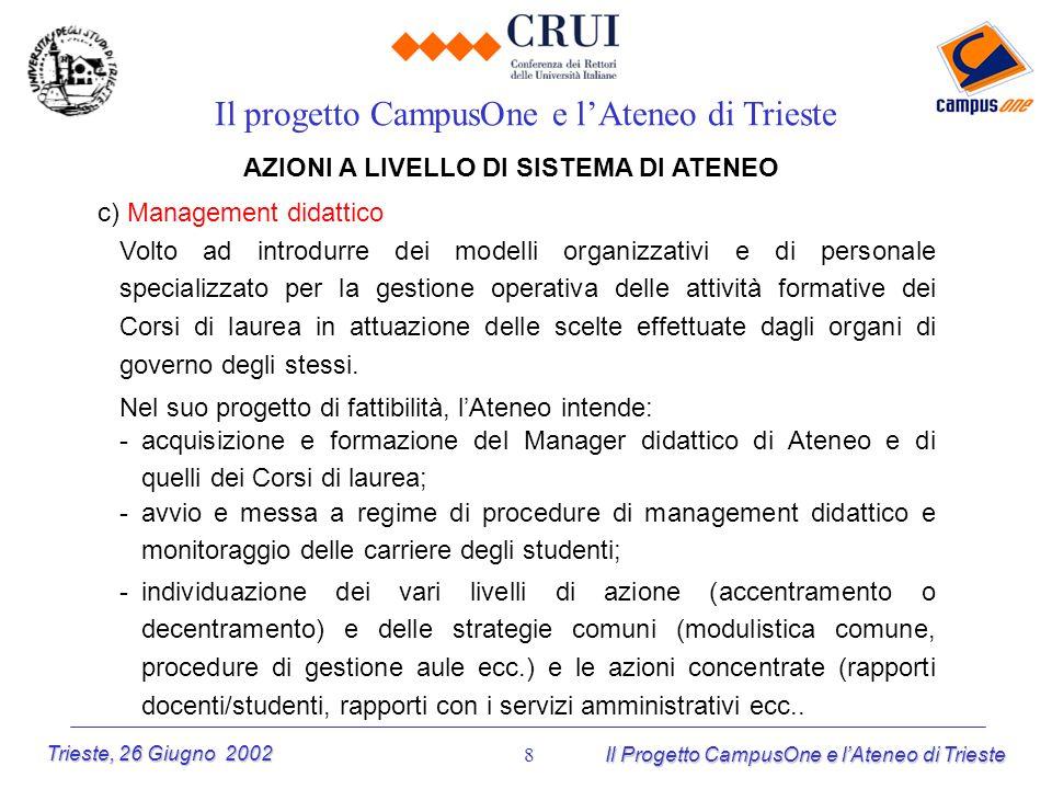 Trieste, 26 Giugno 2002 Il Progetto CampusOne e lAteneo di Trieste 8 AZIONI A LIVELLO DI SISTEMA DI ATENEO c) Management didattico Il progetto CampusO