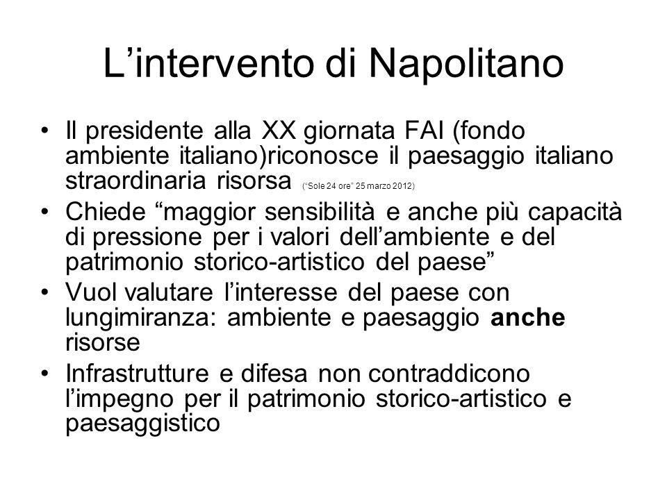 Lintervento di Napolitano Il presidente alla XX giornata FAI (fondo ambiente italiano)riconosce il paesaggio italiano straordinaria risorsa (Sole 24 o
