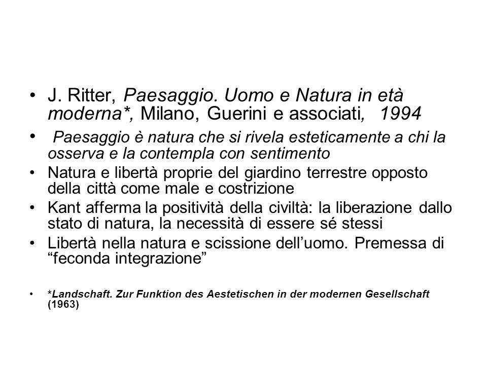 J. Ritter, Paesaggio. Uomo e Natura in età moderna*, Milano, Guerini e associati, 1994 Paesaggio è natura che si rivela esteticamente a chi la osserva