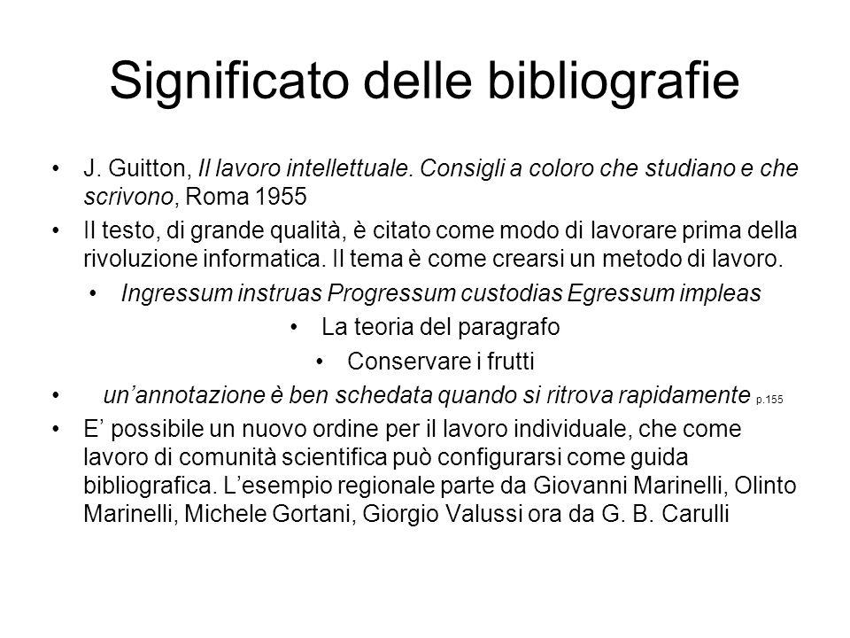 Significato delle bibliografie J. Guitton, Il lavoro intellettuale. Consigli a coloro che studiano e che scrivono, Roma 1955 Il testo, di grande quali