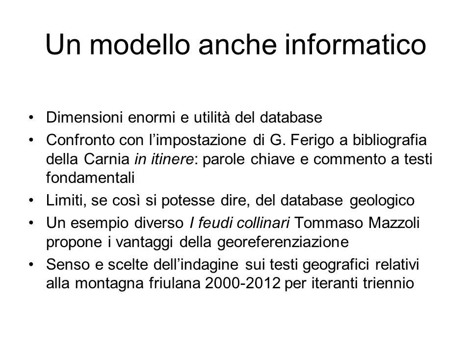 Un modello anche informatico Dimensioni enormi e utilità del database Confronto con limpostazione di G. Ferigo a bibliografia della Carnia in itinere: