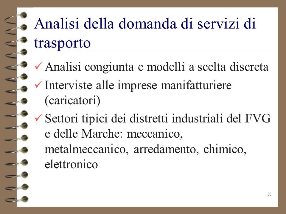30 Analisi della domanda di servizi di trasporto Analisi congiunta e modelli a scelta discreta Interviste alle imprese manifatturiere (caricatori) Set