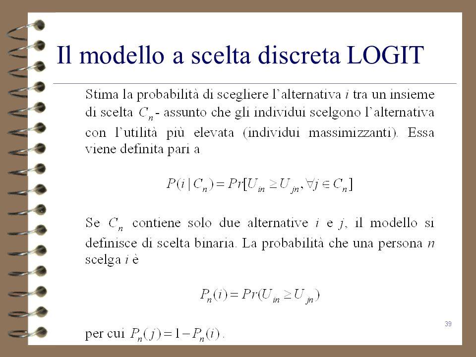 39 Il modello a scelta discreta LOGIT