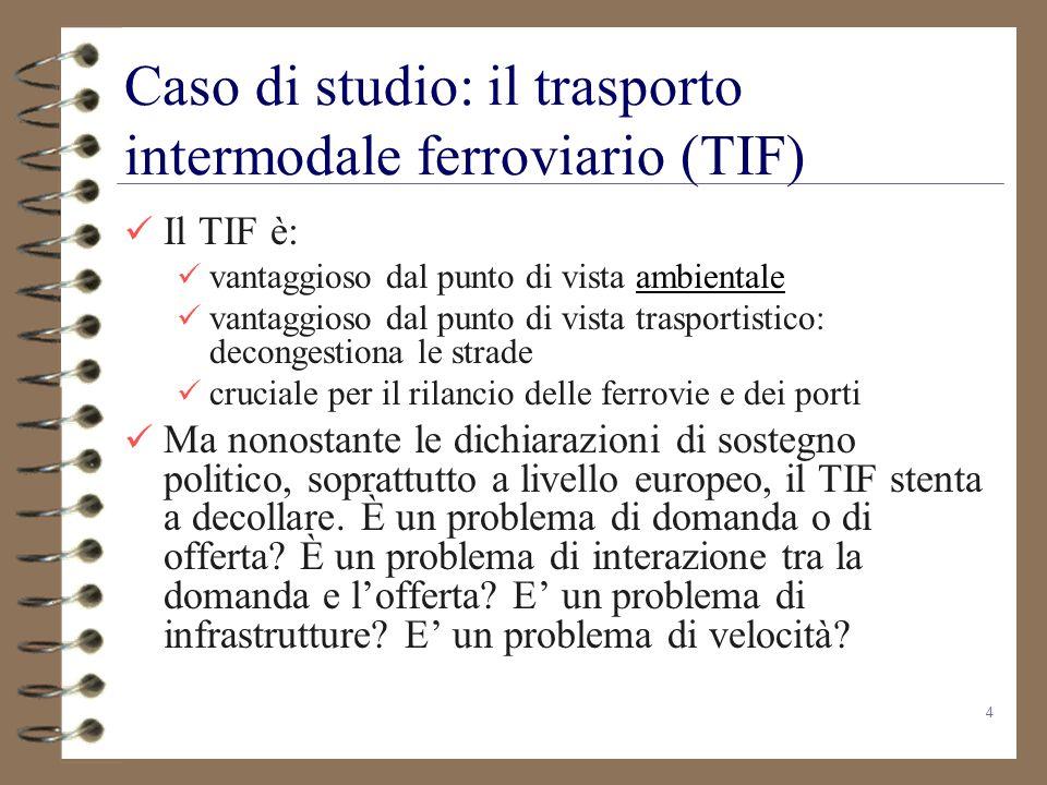 4 Caso di studio: il trasporto intermodale ferroviario (TIF) Il TIF è: vantaggioso dal punto di vista ambientaleambientale vantaggioso dal punto di vi