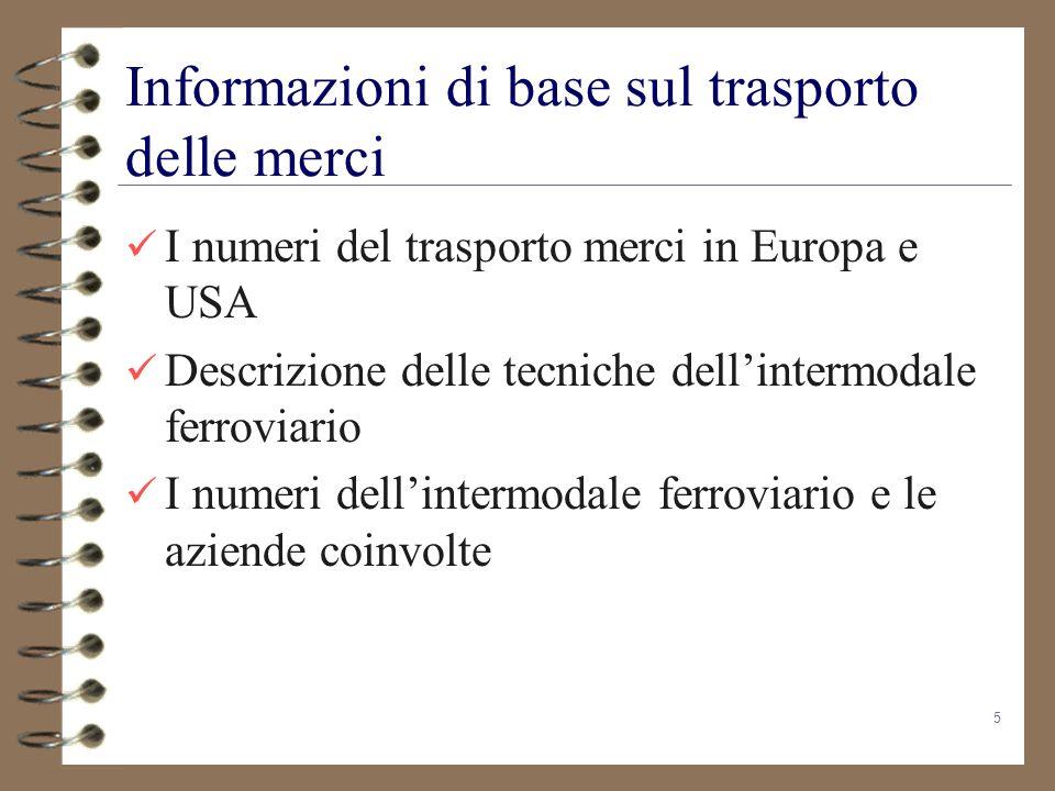 5 Informazioni di base sul trasporto delle merci I numeri del trasporto merci in Europa e USA Descrizione delle tecniche dellintermodale ferroviario I
