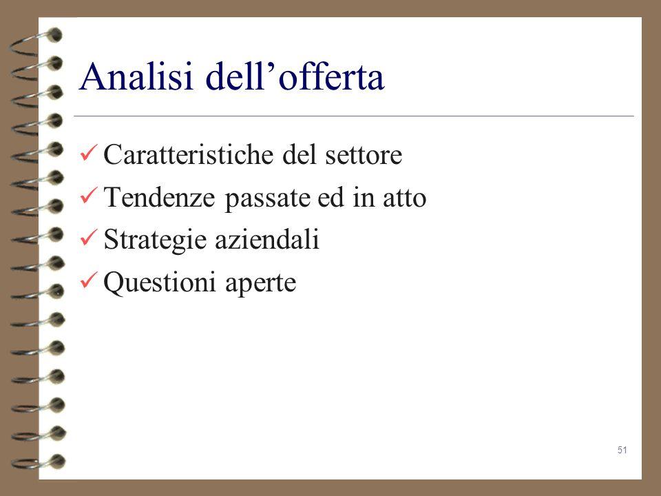 51 Analisi dellofferta Caratteristiche del settore Tendenze passate ed in atto Strategie aziendali Questioni aperte