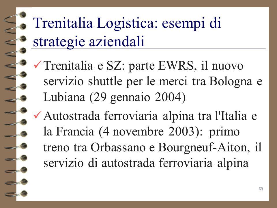 65 Trenitalia Logistica: esempi di strategie aziendali Trenitalia e SZ: parte EWRS, il nuovo servizio shuttle per le merci tra Bologna e Lubiana (29 g