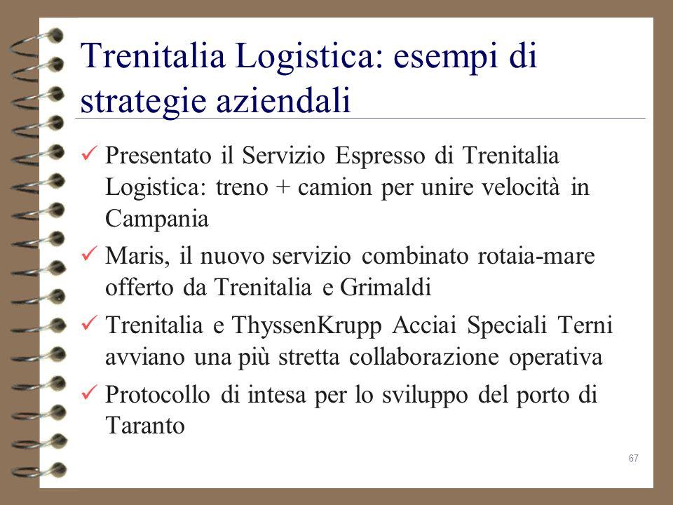 67 Trenitalia Logistica: esempi di strategie aziendali Presentato il Servizio Espresso di Trenitalia Logistica: treno + camion per unire velocità in C