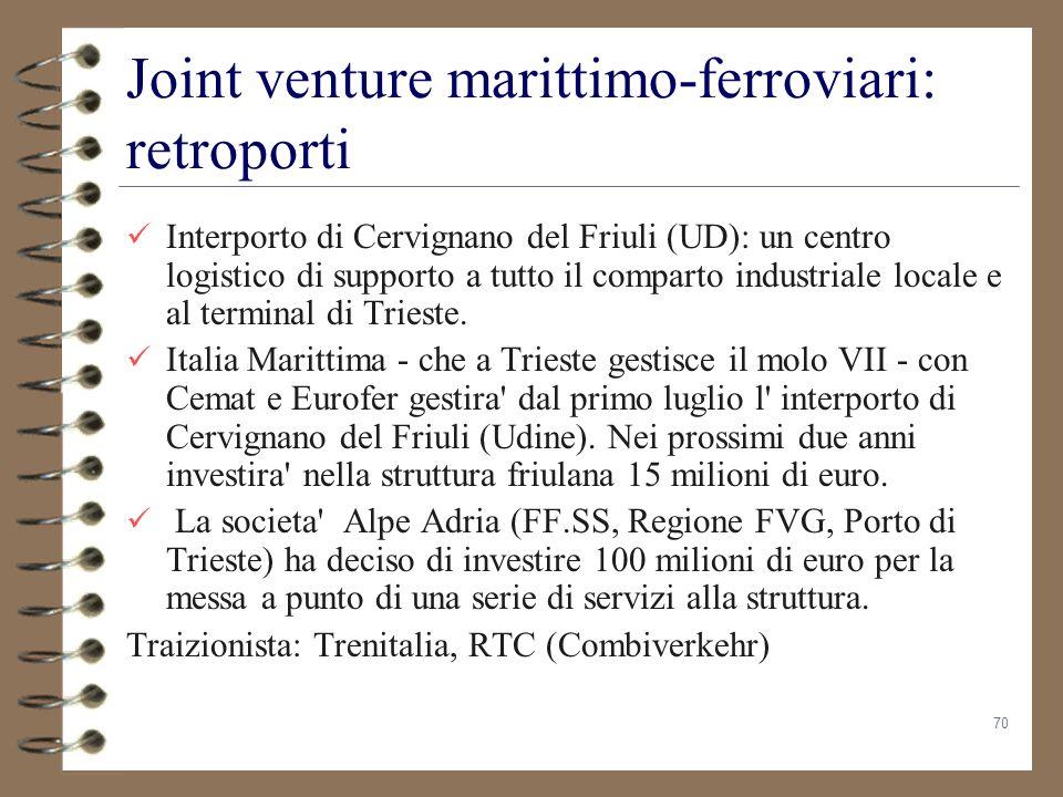 70 Joint venture marittimo-ferroviari: retroporti Interporto di Cervignano del Friuli (UD): un centro logistico di supporto a tutto il comparto indust