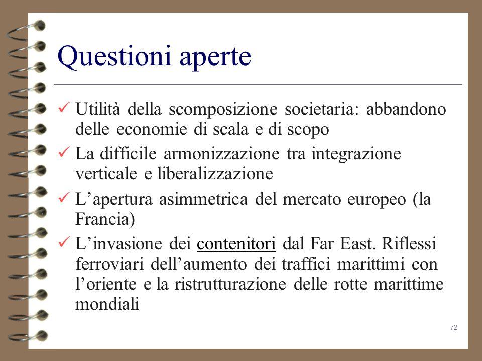 72 Questioni aperte Utilità della scomposizione societaria: abbandono delle economie di scala e di scopo La difficile armonizzazione tra integrazione