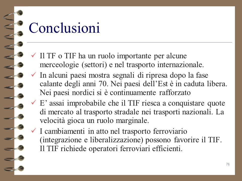 76 Conclusioni Il TF o TIF ha un ruolo importante per alcune merceologie (settori) e nel trasporto internazionale. In alcuni paesi mostra segnali di r