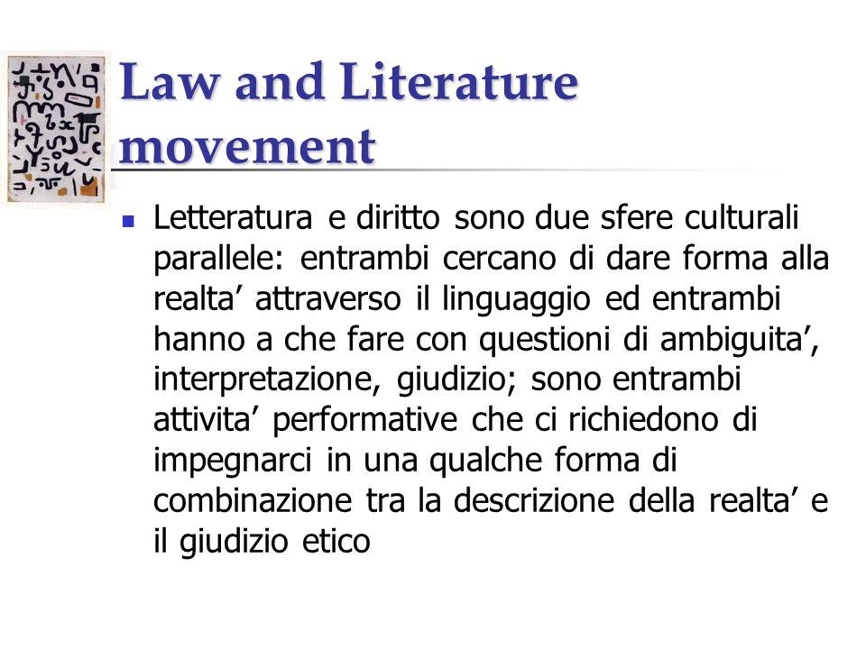 Law and Literature movement La relazione e biunivoca, non unidirezionale: si possono usare punti di vista giuridici per approfondire lo studio della letteratura e punti di vista letterari per approfondire lo studio della legge