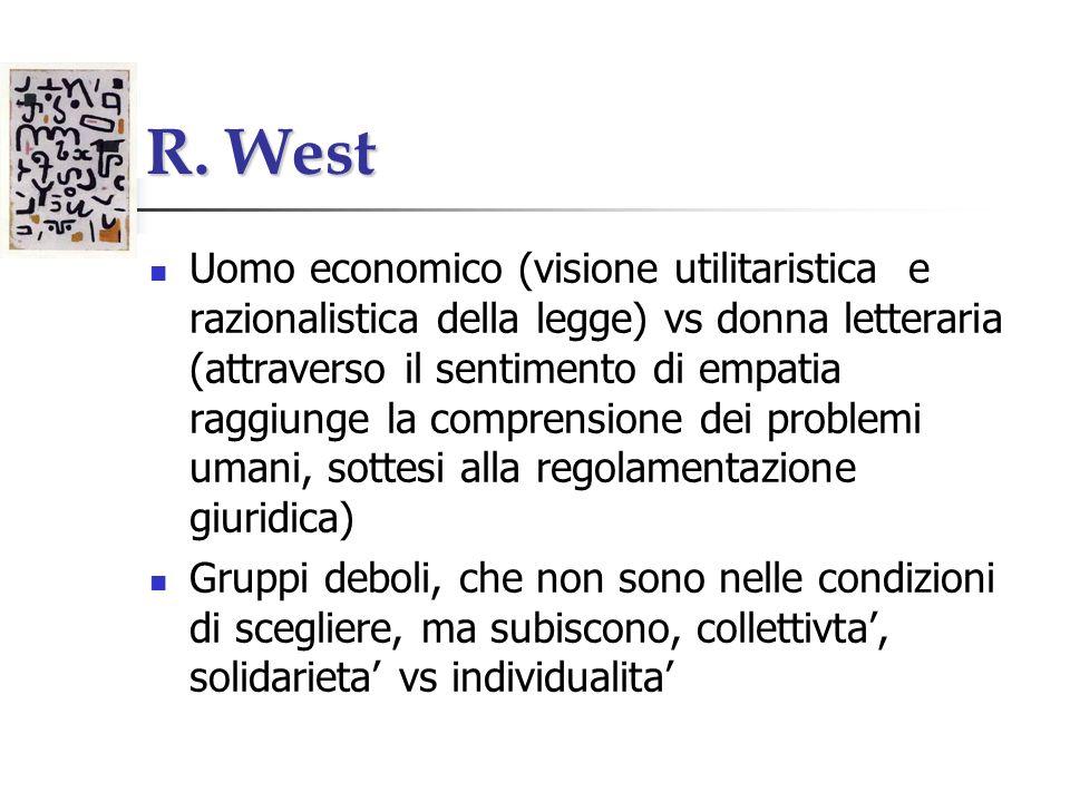 R. West Uomo economico (visione utilitaristica e razionalistica della legge) vs donna letteraria (attraverso il sentimento di empatia raggiunge la com