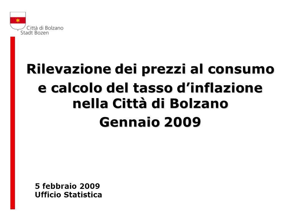 Rilevazione dei prezzi al consumo e calcolo del tasso dinflazione nella Città di Bolzano Gennaio 2009 5 febbraio 2009 Ufficio Statistica