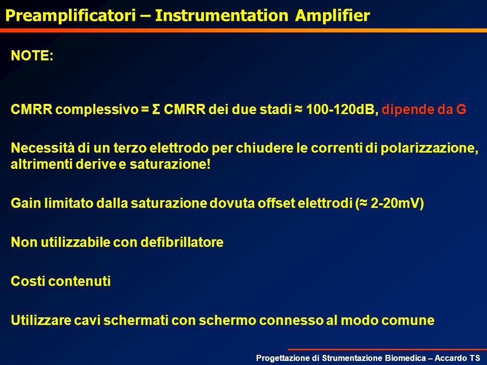 Progettazione di Strumentazione Biomedica – Accardo TS Preamplificatori – Instrumentation Amplifier NOTE: CMRR complessivo = Σ CMRR dei due stadi 100-