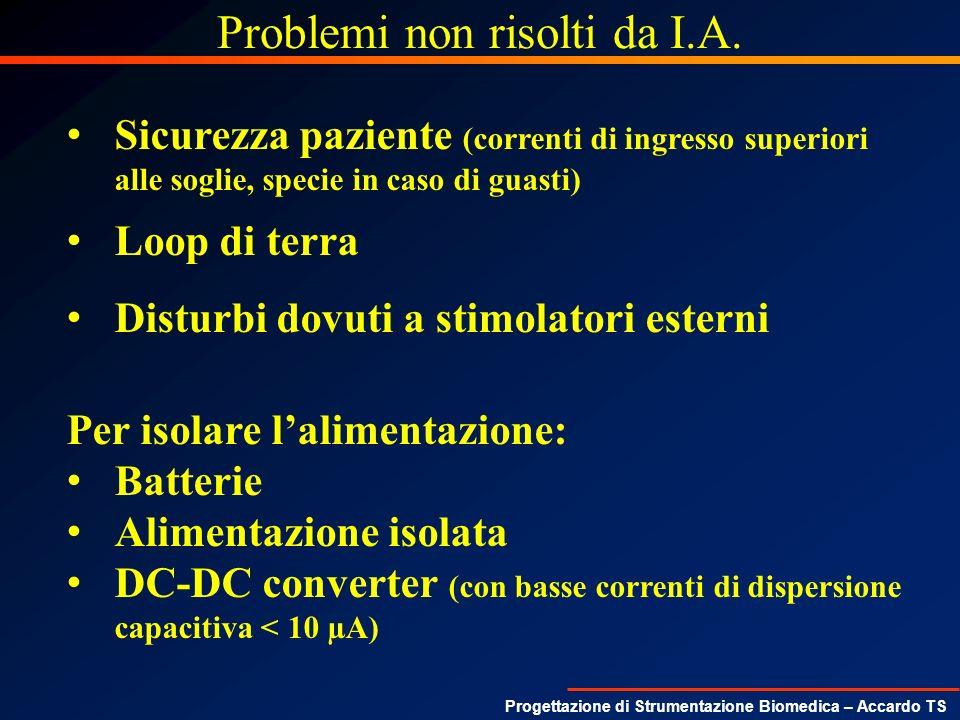 Progettazione di Strumentazione Biomedica – Accardo TS Problemi non risolti da I.A. Sicurezza paziente (correnti di ingresso superiori alle soglie, sp