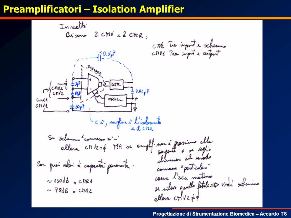 Progettazione di Strumentazione Biomedica – Accardo TS Preamplificatori – Isolation Amplifier